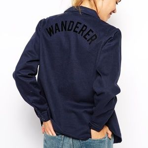 """Navy Button Down with """"Wanderer"""" Print"""